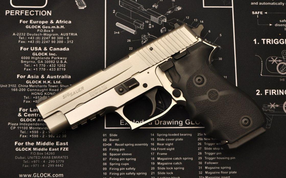 Sig Sauer weapons guns pistol schematic mech wallpaper