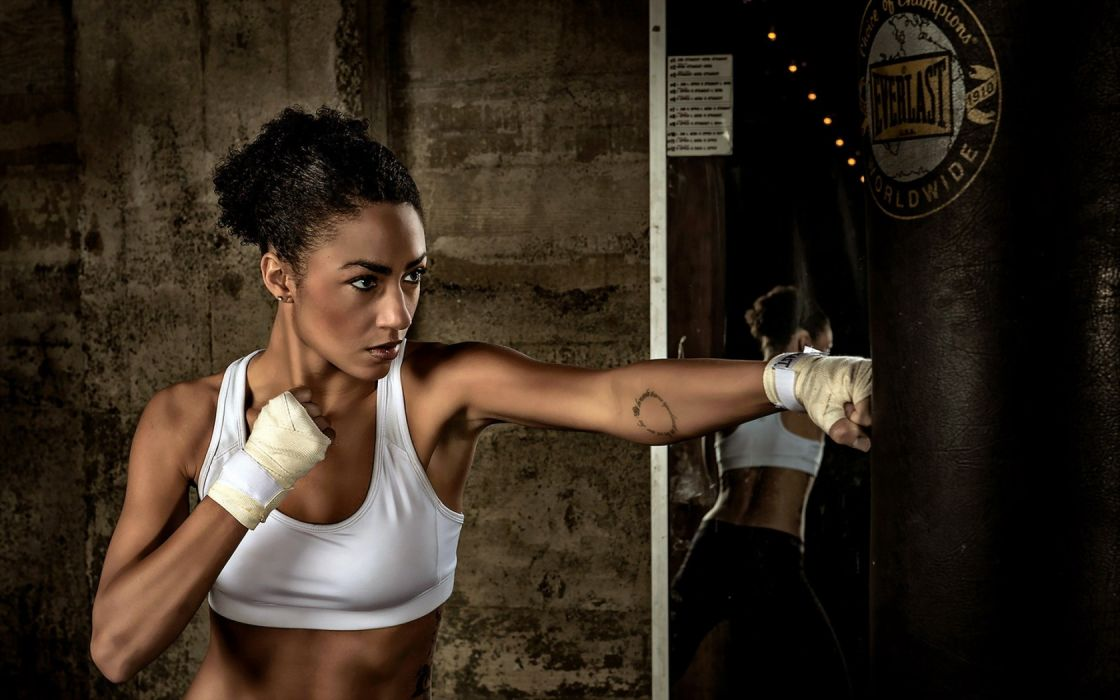 women boxing sexy babe brunette model wallpaper