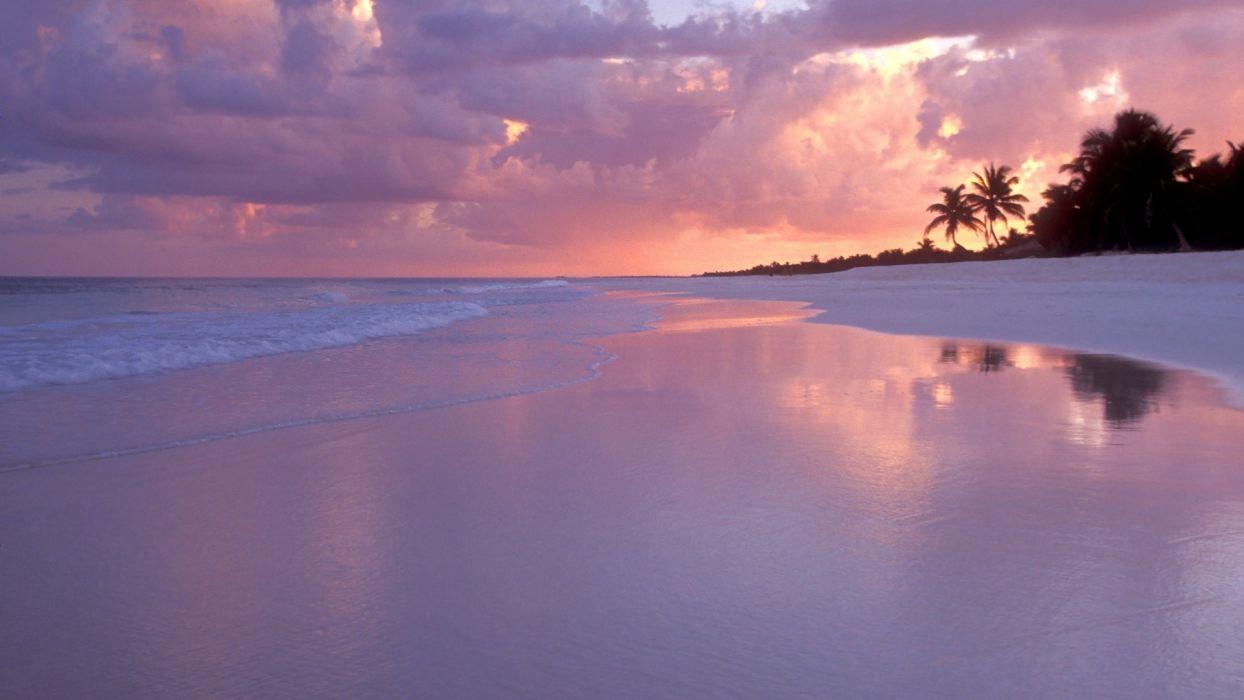 sand landscapes ocean sunset sky wallpaper