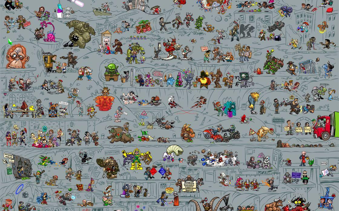 video games collage humor detail wallpaper