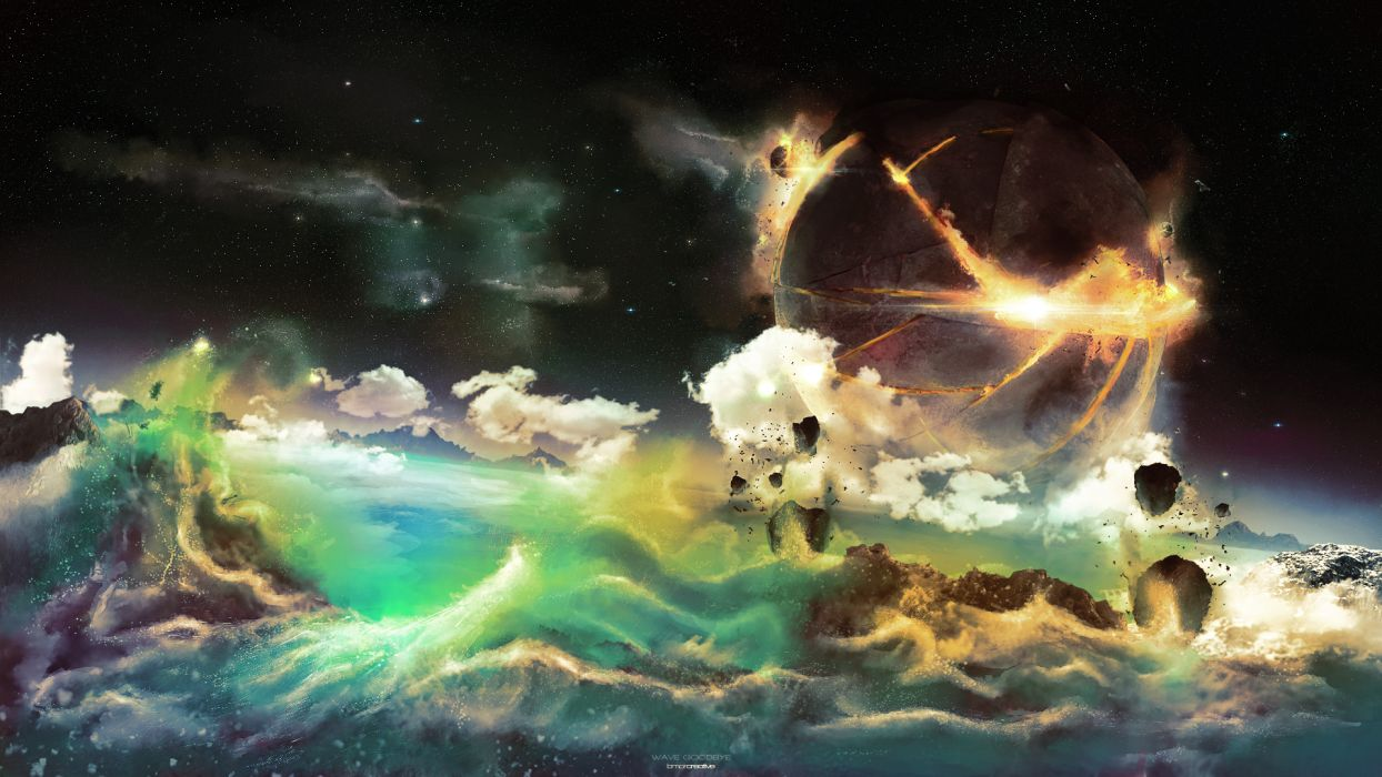 cg digital art ocean sea storm sci fi planets apocalyptic waves wallpaper