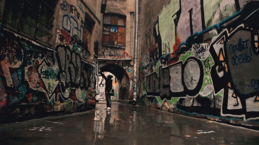 urban art graffiti paint girl buildings wallpaper