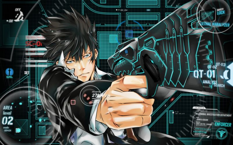 psycho pass shinya kougami games men boy sci fi futuristic weapons guns pistol wallpaper