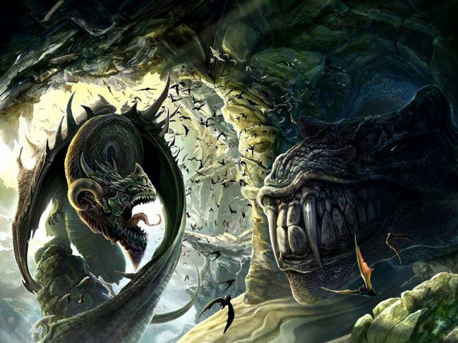 fantasy art dragon monster battle wallpaper