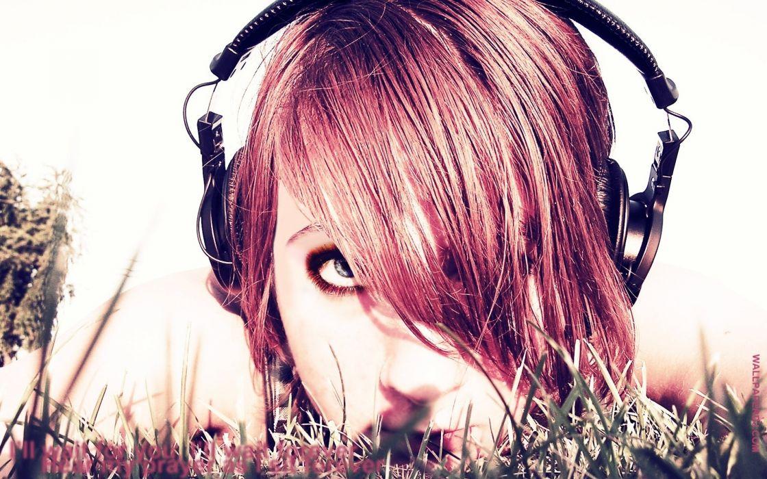 headphones women music redheads faces 1920x1200 wallpaper Entertainment Music HD wallpaper
