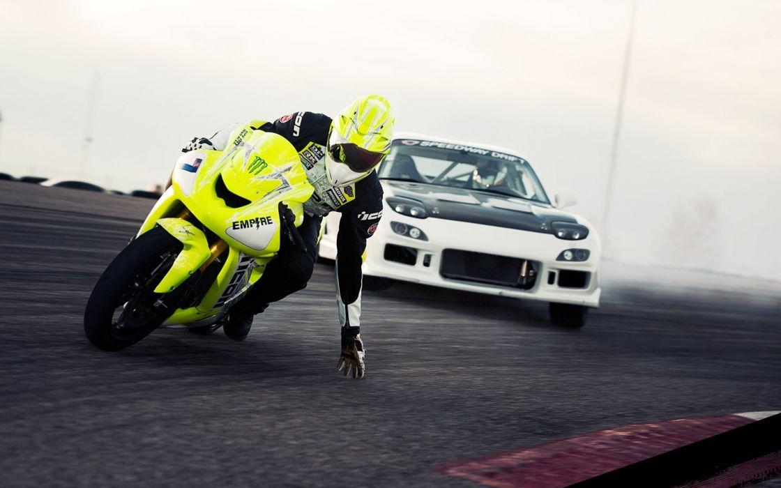 motorbikes drifting 1920x1200 wallpaper Vehicles Motorcycles HD racing track cars wallpaper