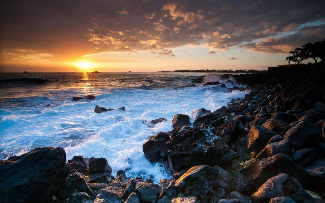 landscapes shore coast ocean sky sunset waves wallpaper