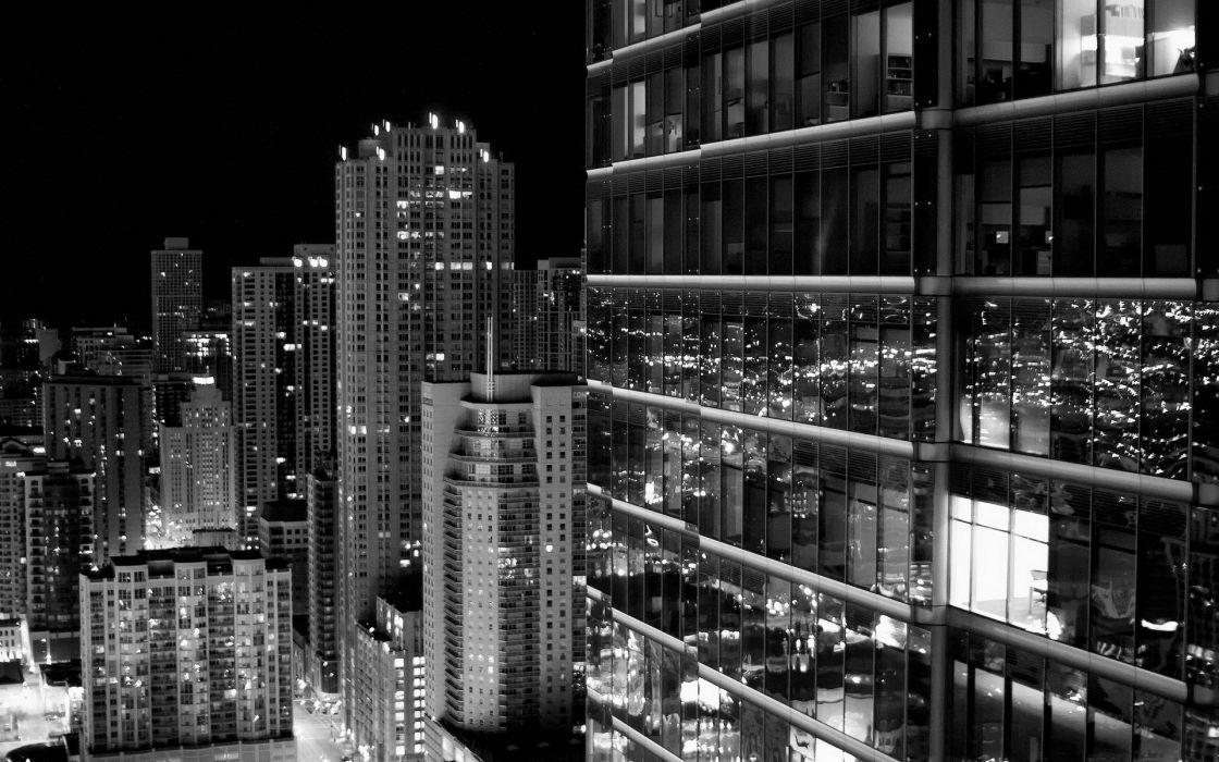 grayscale black glass shine window buildings skyscraper wallpaper