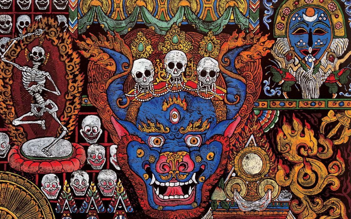 tibetan culture dark death skull skeleton occult religion wallpaper