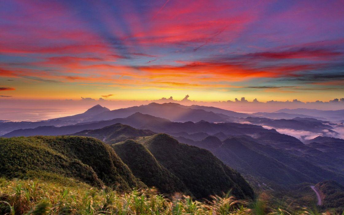 landscapes mountains fog sky wallpaper