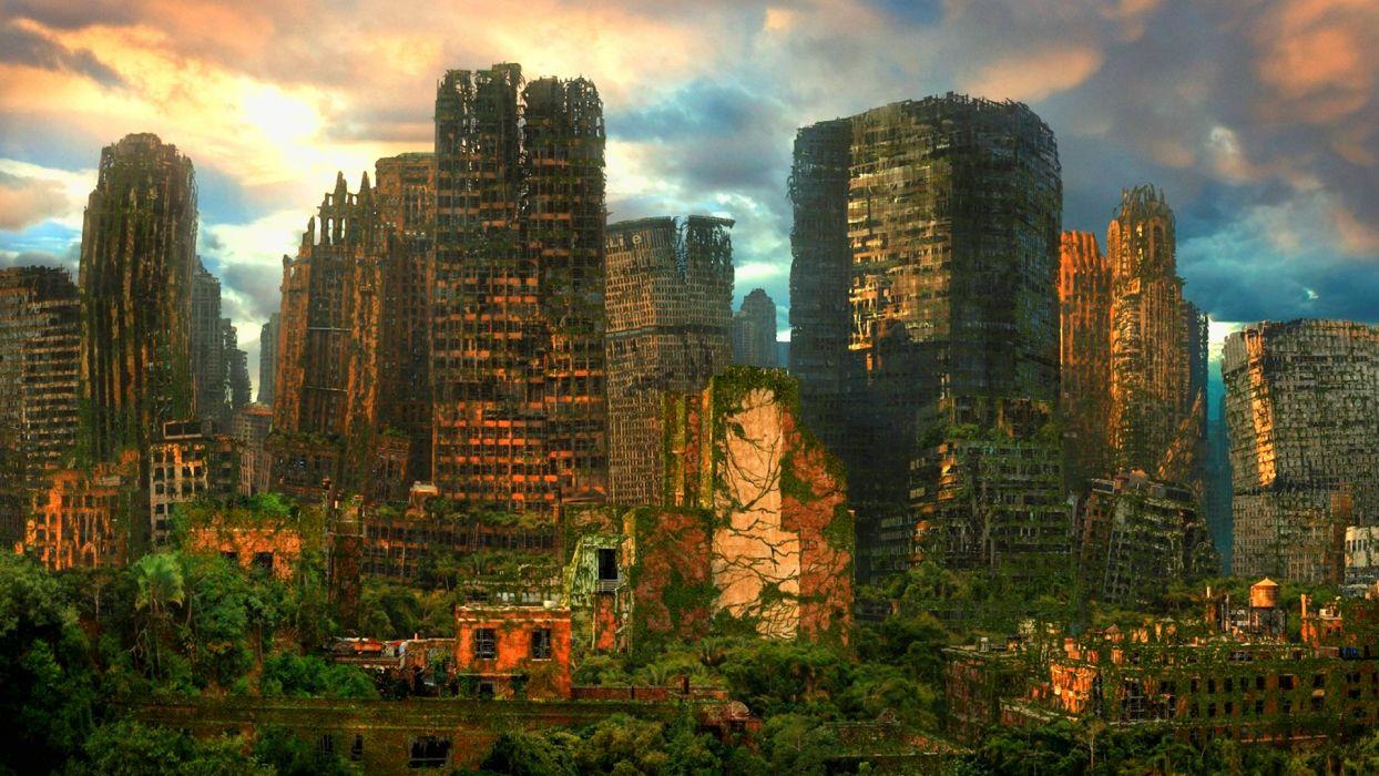 sci fi futuristic apocalyptic cities urban decay ruin art wallpaper