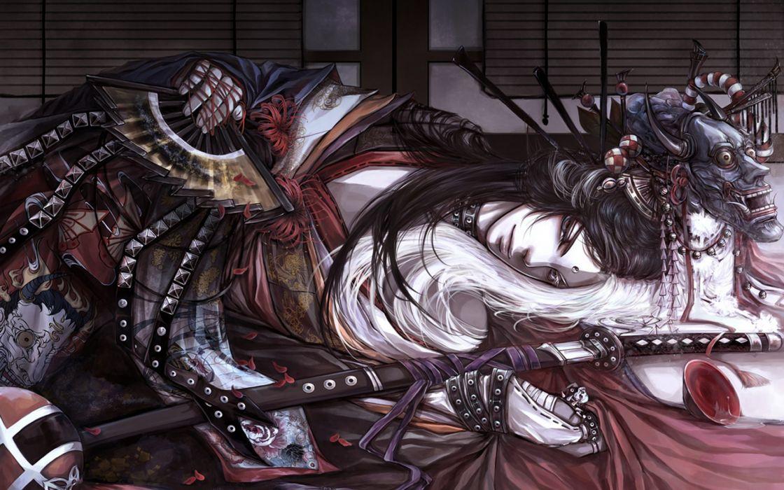 Art sherytan hyakkiyakou samurai mask fan katana yarn flowers petals pins piala asian oriental weapon sword wallpaper