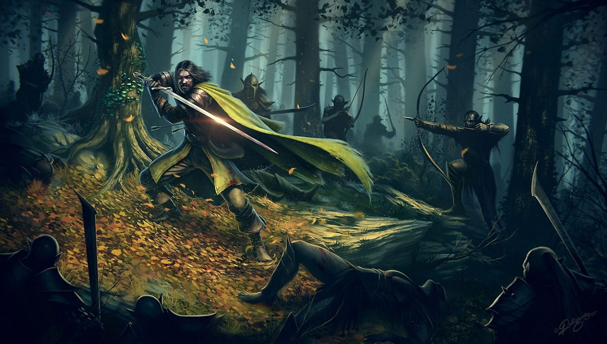 Battles Warriors Archers Forests Swords fantasy weapons trees art knight wallpaper
