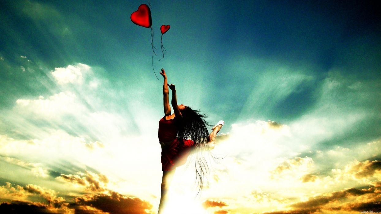 manip bokeh mood love romance heart women sky wallpaper