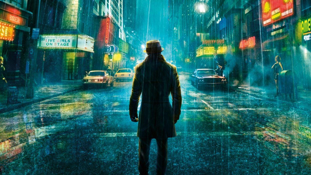 Comics Watchmen movies storm rain roads art video games cities drops men wallpaper
