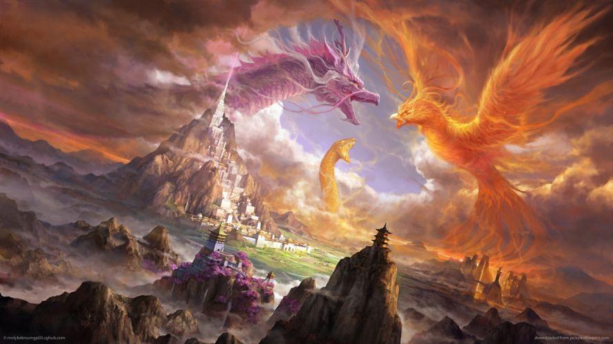 fantasy art dragon pheonix sepent monster asian oriental castle cities battle landscapes wallpaper