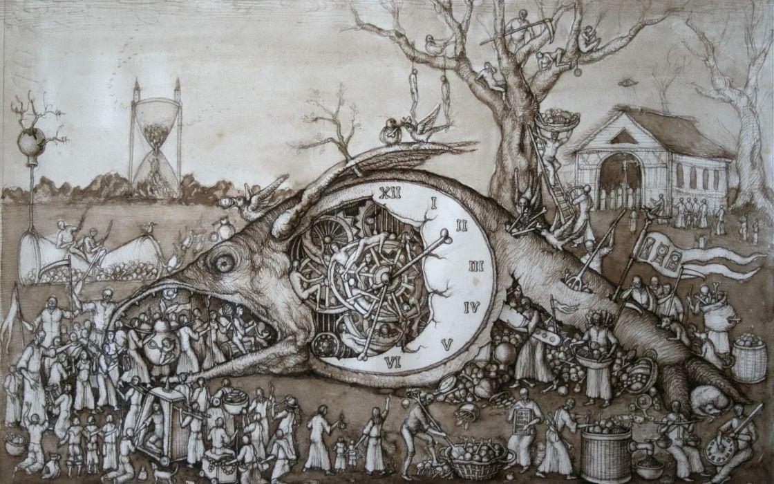 dark horror steampunk mech tech mood time death art clock wallpaper