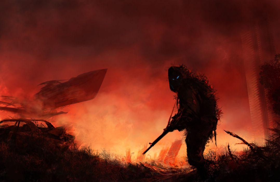 Stalker sci fi post apocalyptic warrior soldier assassin war sci fi futuristic dark horror weapons guns assault rifle wallpaper