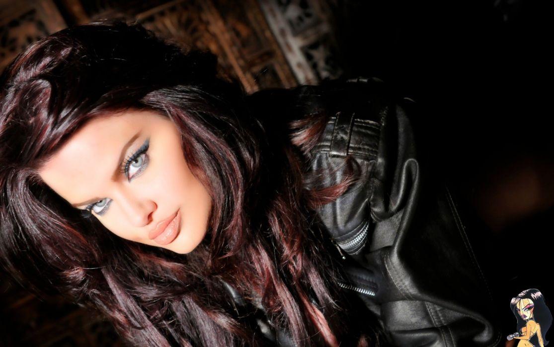 Dana Hamm women model face brunette sexy babes wallpaper