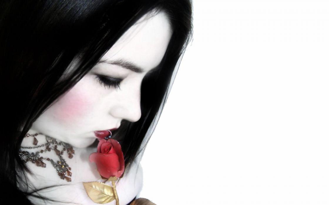dark gothic pale mood sad sorrow women brunette flower rose wallpaper
