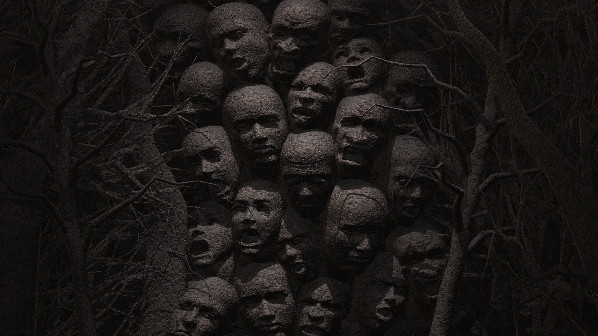 Dark Horror Evil Gothic Scream Face Mask Death Sad Sorrow Angry Pain Art Wallpaper