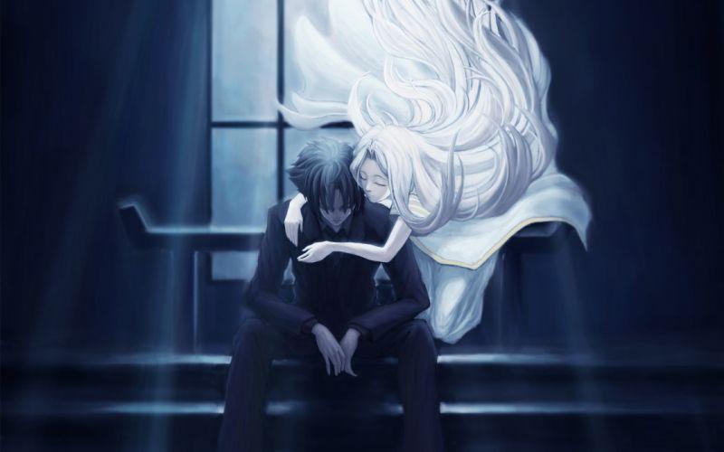 art type moon fate zero irisviel von einzbern emiya kiritsugu girl guy steps sitting hug light night wallpaper