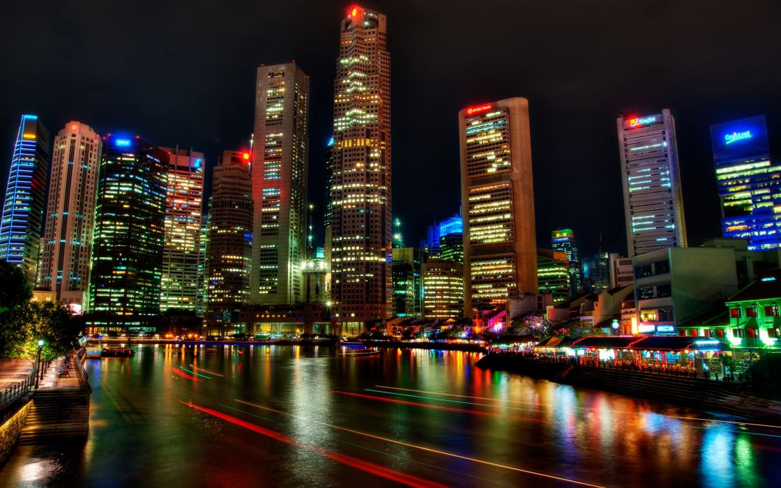Singapore Houses Rivers Skyscrapers Night HDR night lights color reflection lapse wallpaper