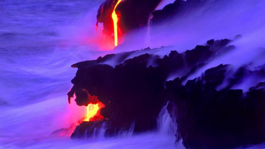 ocean shore coast lava steam wallpaper