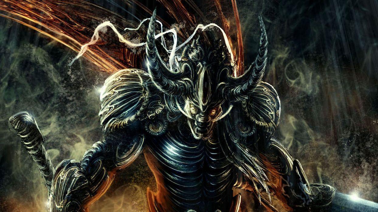 fantasy dark horror demon evil warrior weapons sword wallpaper