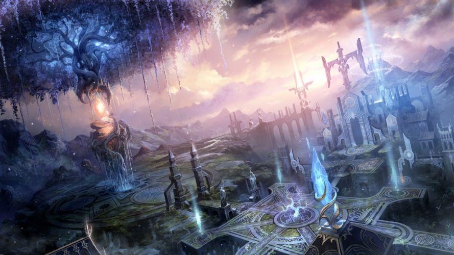 fantasy landscapes cities art magic wallpaper