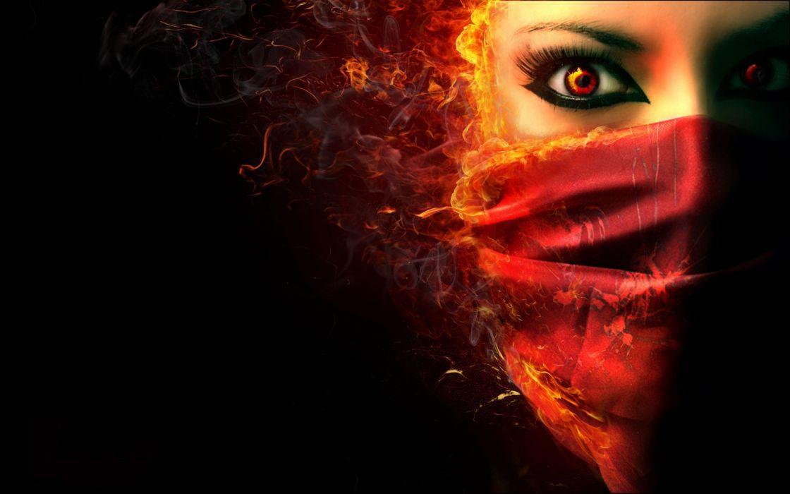 fantasy dark horror face demon evil women wallpaper