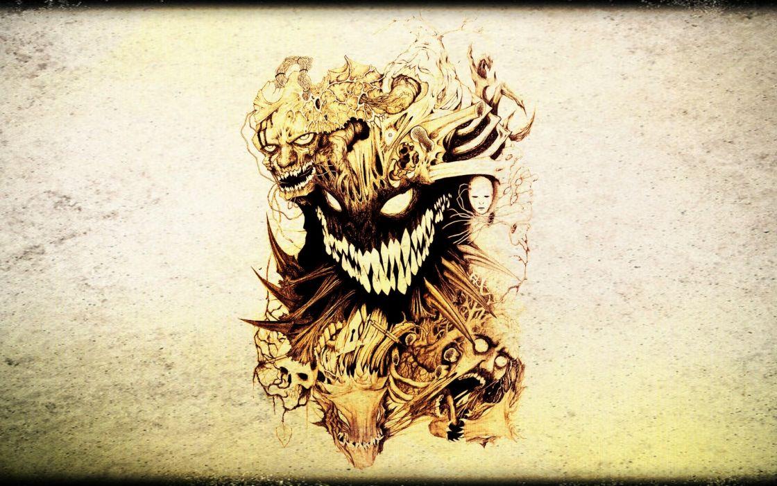 dark horror skull evil tattoo wallpaper