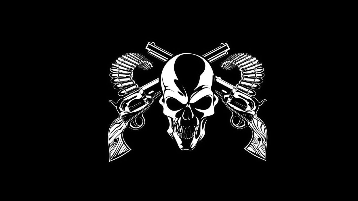 dark horror skull weapons guns bullet ammo ammunition wallpaper