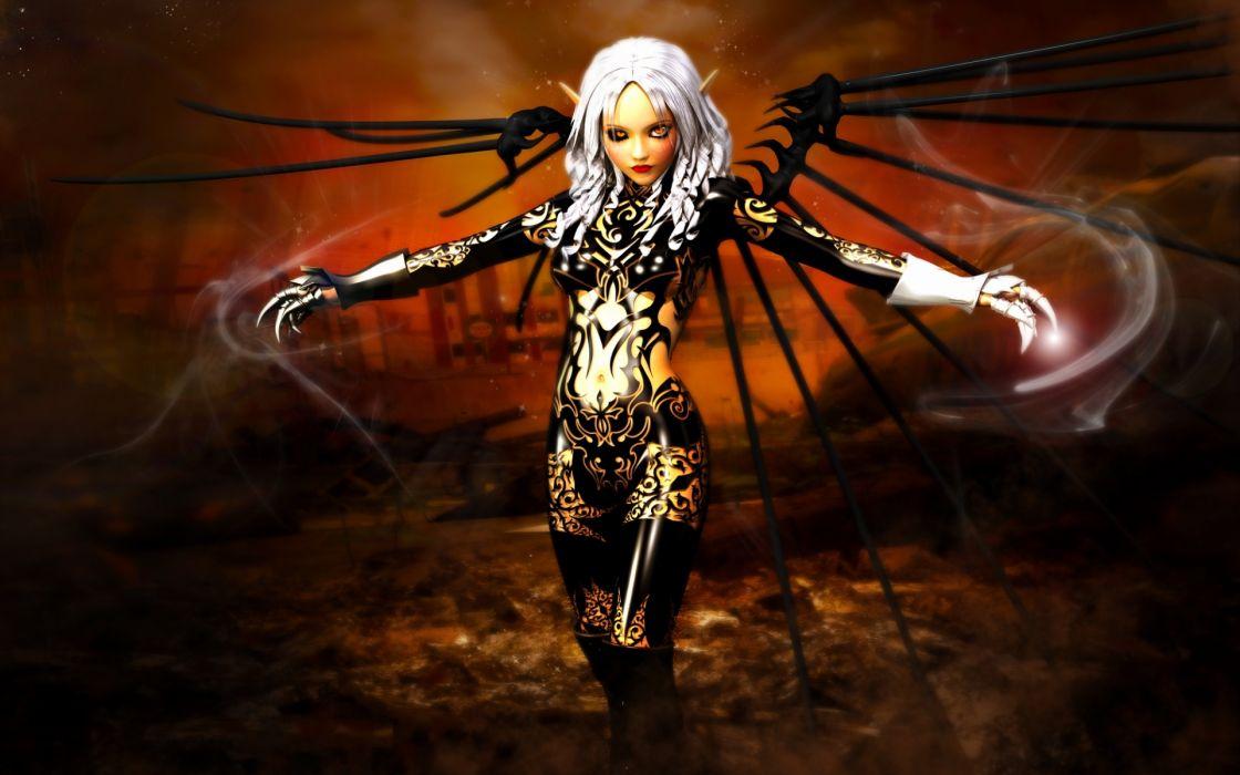 Eleneore fantasy horror dark angel demon women wallpaper
