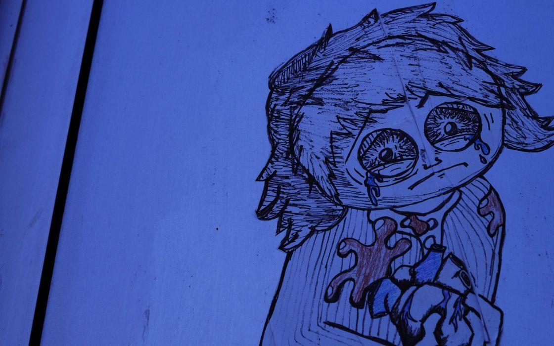 cartoon drawing art dark horror emo mood pain wallpaper