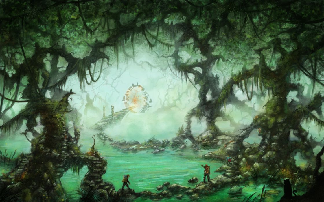 fantasy sci fi gate time portal trees forest art astronaut wallpaper