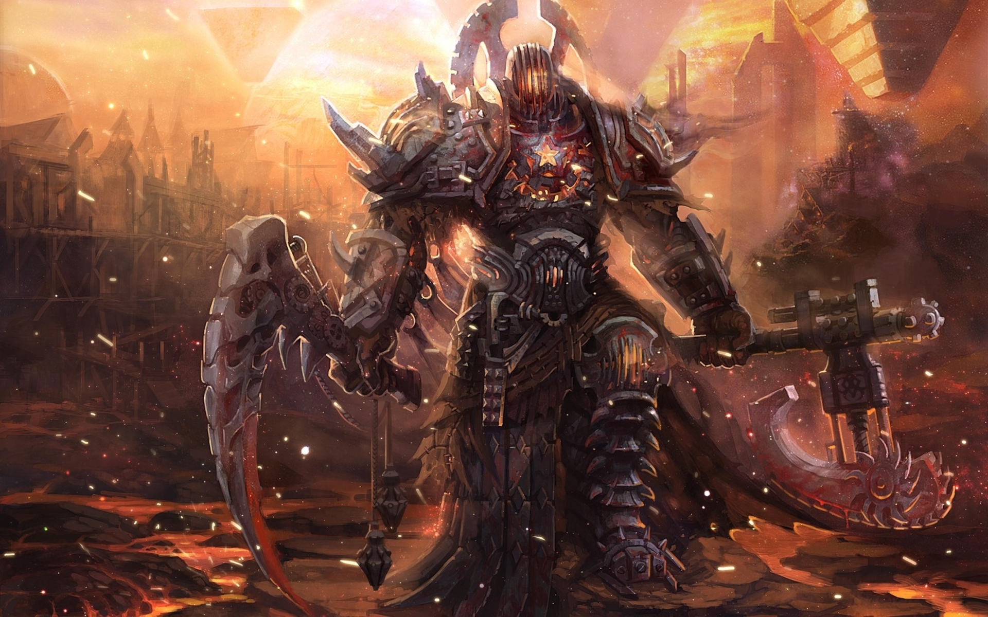 fantasy warrior weapons fire cities demon art wallpaper