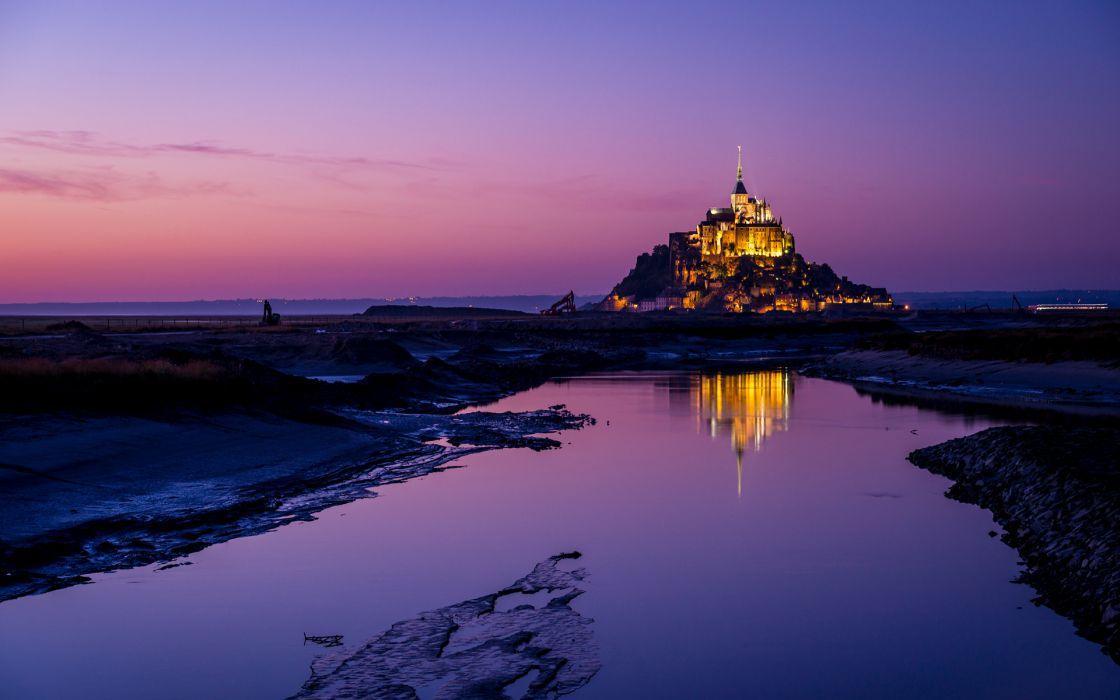 Mont Saint Michel Castle Reflection buildings sky wallpaper