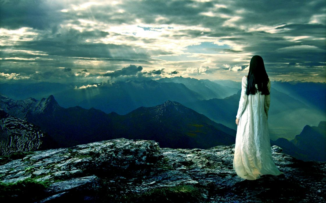 manip cg digital art gothic landscapes mountains sky mood women wallpaper