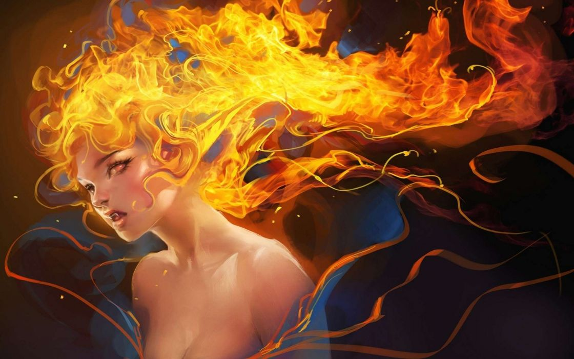 fantasy women art fire wallpaper