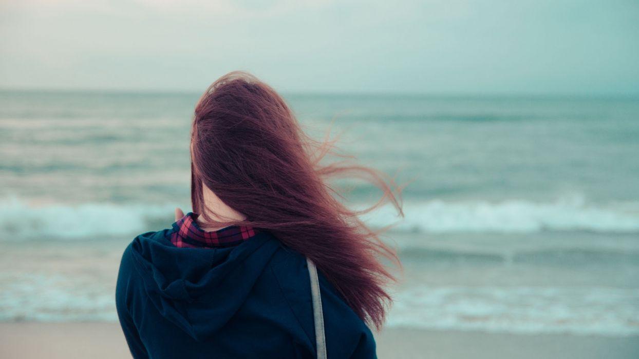 mood women brunette ocean waves wallpaper