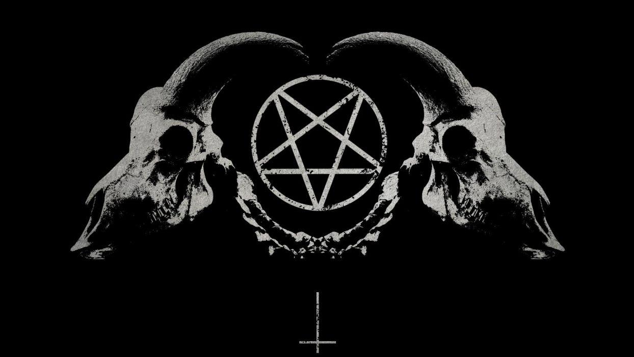 dark horror gothic occult satan penta symbol skull horns wallpaper