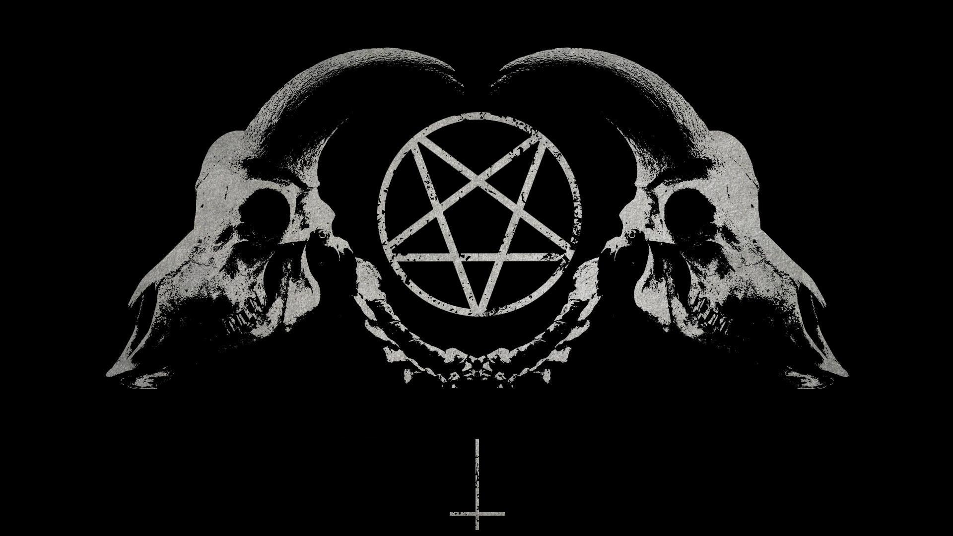 dark horror gothic occult satan penta symbol skull horns wallpaper ...