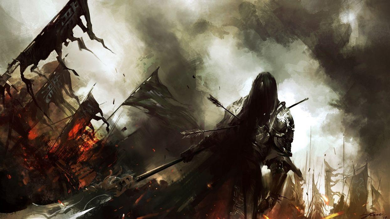 Lin Wenjun fantasy dark warrior knight battle weapons army fire art wallpaper