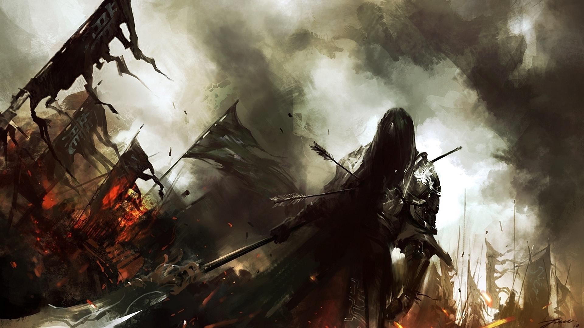 Lin Wenjun Fantasy Dark Warrior Knight Battle Weapons Army