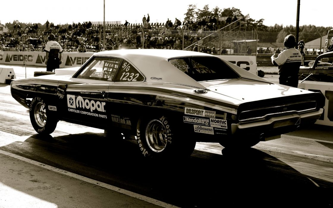 Dodge Charger drag racing hot rod muscle cars black mono wallpaper