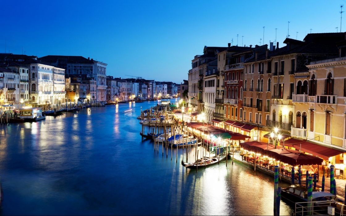 Grand Canal Venice Italy sunset buildings architecture wallpaper