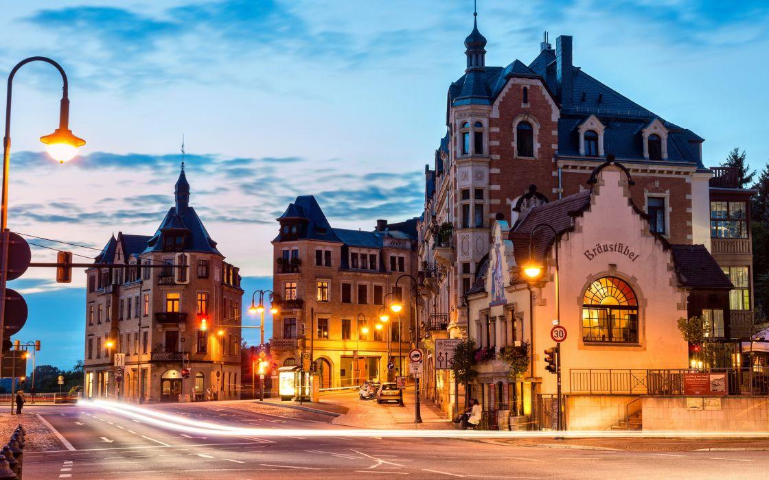 Dresden germany buildings cities roads lights wallpaper