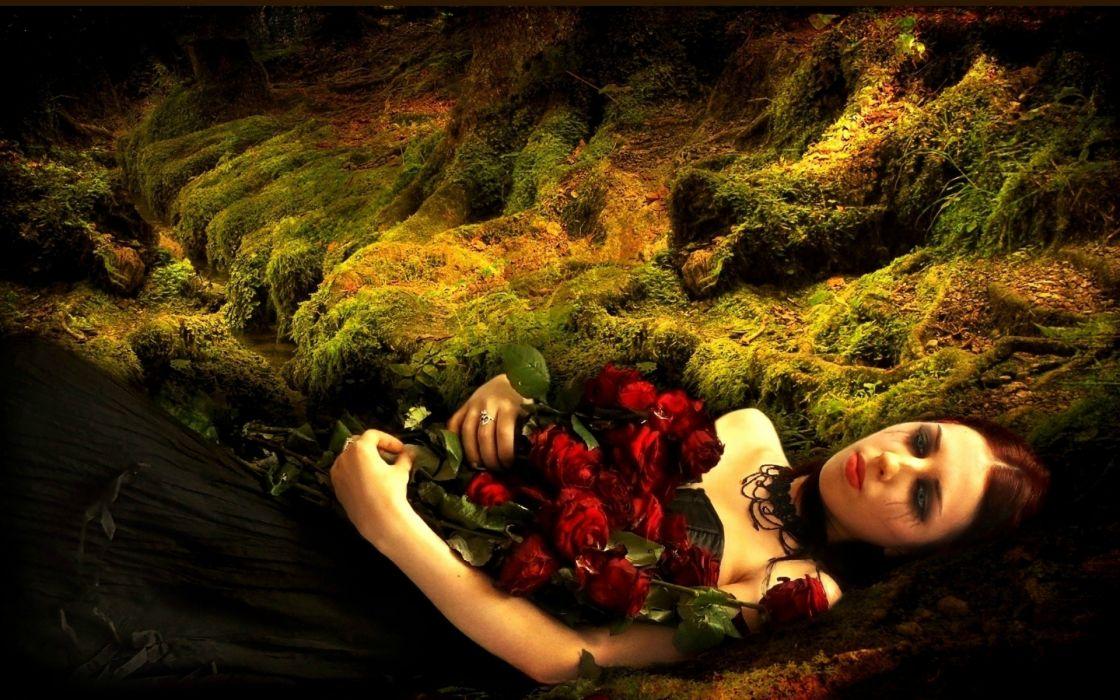 dark gothic women flowers mood sad sorrow love romance vampire wallpaper