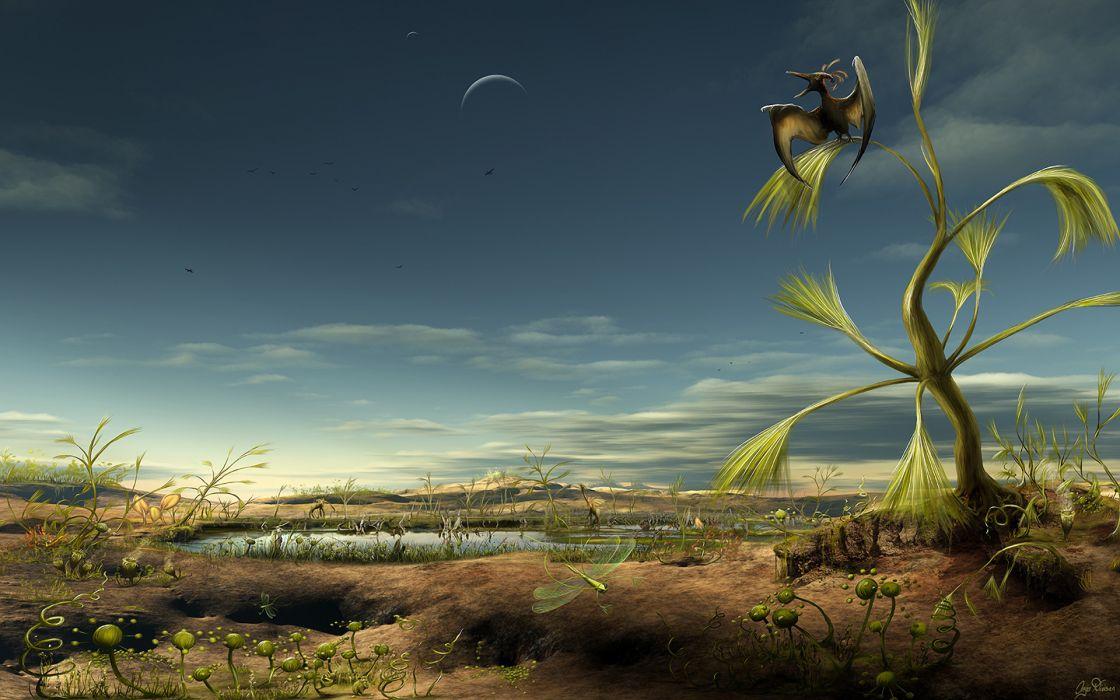 fantasy dinosaur landscapes art cg digital dragons wallpaper